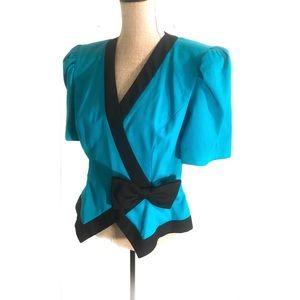 Vintage 80's peplum blouse top